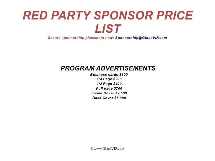 GlossVIP.com; 5. RED PARTY SPONSOR ...