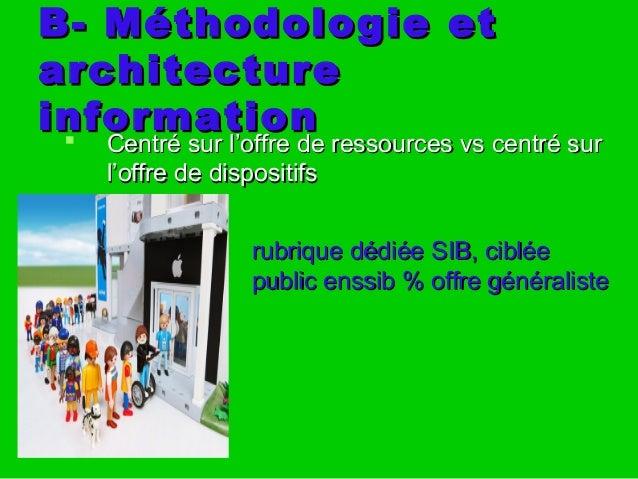 B- Méthodologie etB- Méthodologie et architecturearchitecture informationinformation  Centré sur l'offre de ressources vs...