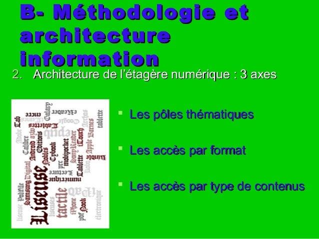B- Méthodologie etB- Méthodologie et architecturearchitecture informationinformation 2.2. Architecture de l'étagère numéri...