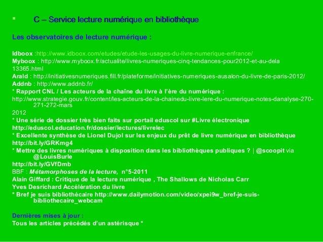  C – Service lecture numérique en bibliothèqueC – Service lecture numérique en bibliothèque Les observatoires de lecture ...