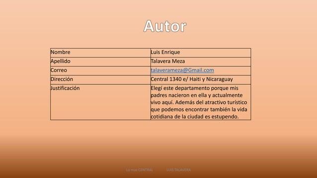 Nombre Luis Enrique  Apellido Talavera Meza  Correo talaverameza@Gmail.com  Dirección Central 1340 e/ Haiti y Nicaraguay  ...