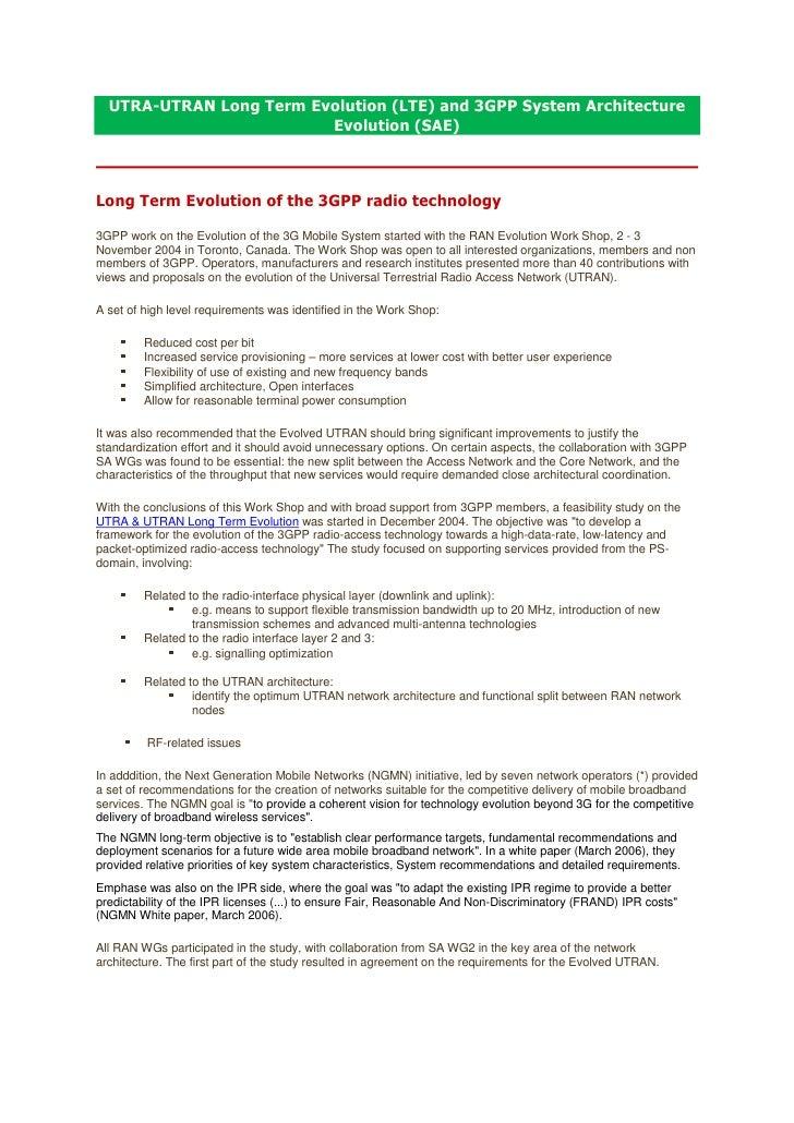 UTRA-UTRAN Long Term Evolution (LTE) and 3GPP System Architecture                          Evolution (SAE)    Long Term Ev...
