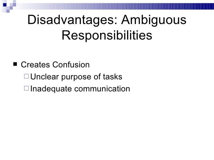 Disadvantages: Ambiguous Responsibilities <ul><li>Creates Confusion </li></ul><ul><ul><li>Unclear purpose of tasks </li></...