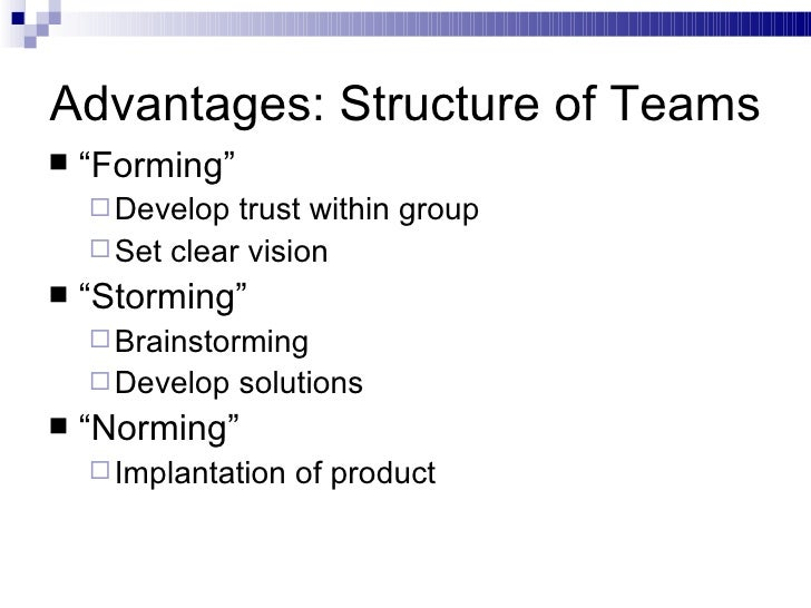 "Advantages: Structure of Teams <ul><li>"" Forming"" </li></ul><ul><ul><li>Develop trust within group </li></ul></ul><ul><ul>..."