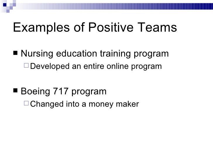 Examples of Positive Teams <ul><li>Nursing education training program </li></ul><ul><ul><li>Developed an entire online pro...