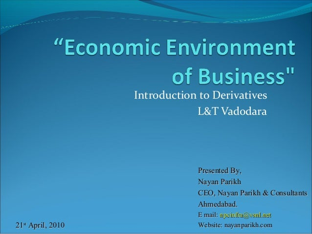 Introduction to Derivatives L&T Vadodara  Presented By, Nayan Parikh CEO, Nayan Parikh & Consultants Ahmedabad. 21st April...