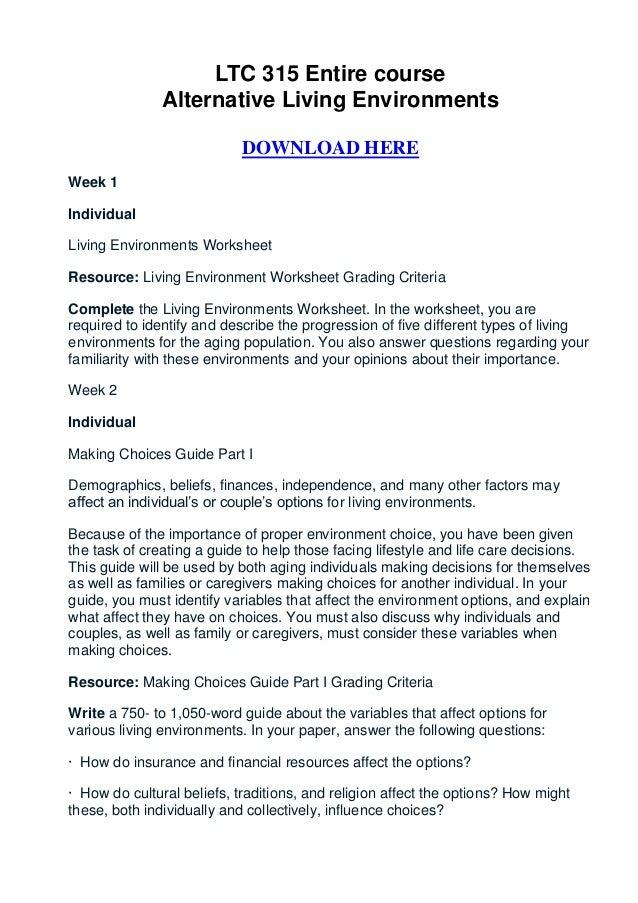 LTC 315 Entire Course Alternative Living Environments ...