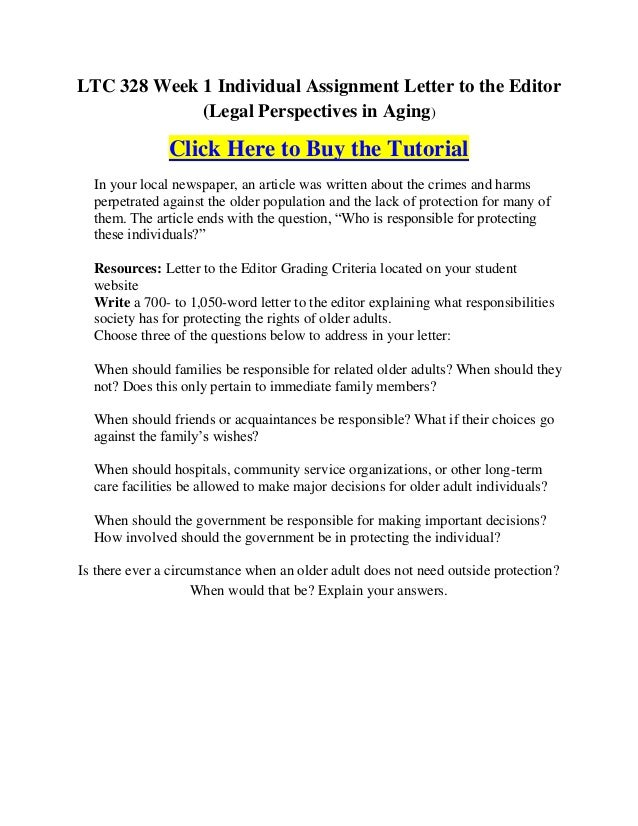 LTC 328 Week 1 Individual Assignment Letter To The Editor (Legal  Perspectives In Aging)