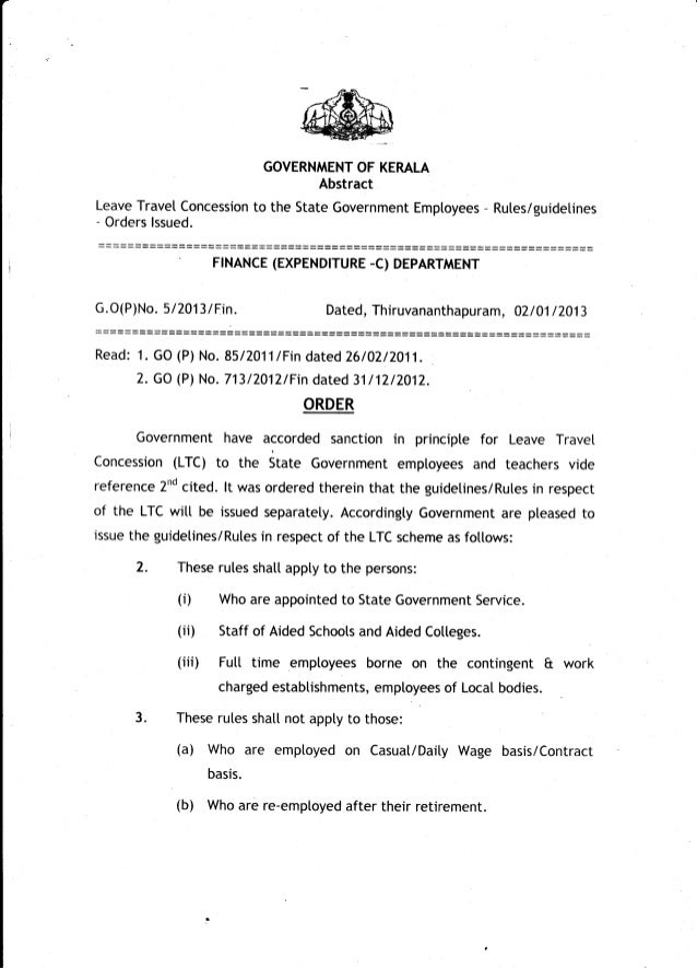Kerala Leave Travel Concession For Govt Employees Go P