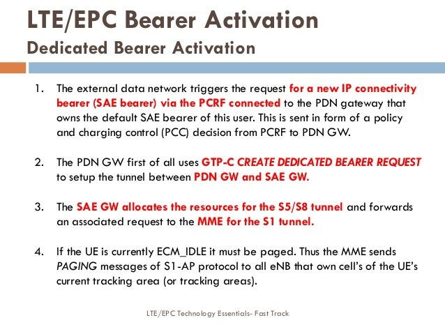 1. The external data network triggers the request for a new IP connectivity bearer (SAE bearer) via the PCRF connected to ...