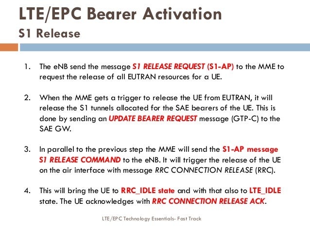 LTE/EPC Bearer Activation S1 Release 1. The eNB send the message S1 RELEASE REQUEST (S1-AP) to the MME to request the rele...