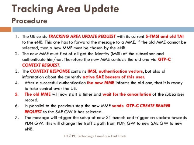 Tracking Area Update Procedure 1. The UE sends TRACKING AREA UPDATE REQUEST with its current S-TMSI and old TAI to the eNB...
