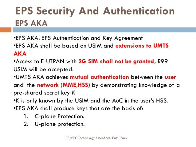 EPS Security And Authentication EPS AKA •EPS AKA: EPS Authentication and Key Agreement •EPS AKA shall be based on USIM and...