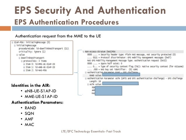Authentication request from the MME to the UE Identities in the AIR: • eNB-UE-S1AP-ID • MME-UE-S1AP-ID Authentication Para...