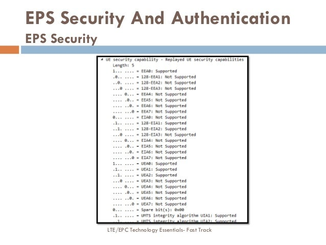 EPS Security And Authentication EPS Security LTE/EPC Technology Essentials- Fast Track