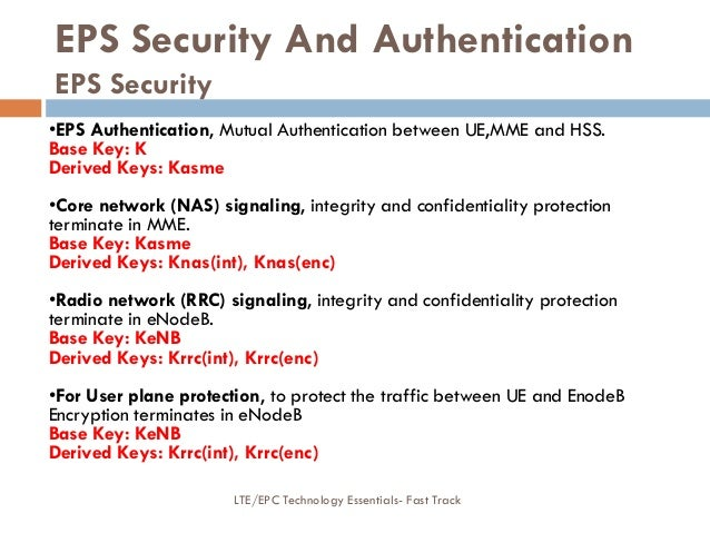 EPS Security And Authentication EPS Security •EPS Authentication, Mutual Authentication between UE,MME and HSS. Base Key: ...