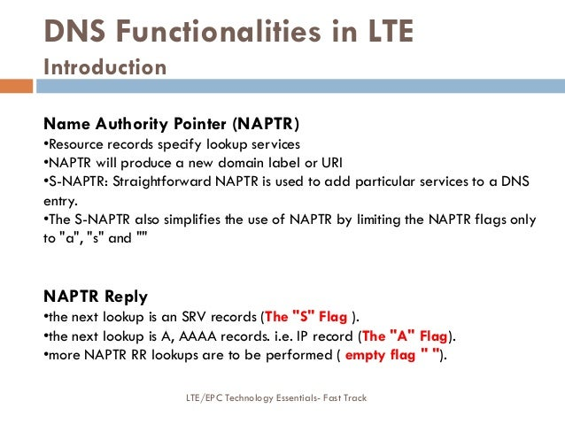 DNS Functionalities in LTE Introduction Name Authority Pointer (NAPTR) •Resource records specify lookup services •NAPTR wi...