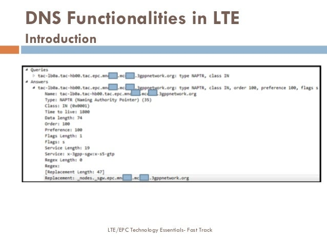 DNS Functionalities in LTE Introduction LTE/EPC Technology Essentials- Fast Track