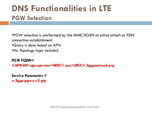 DNS Functionalities in LTE PGW Selection •PGW selection is performed by the MME/SGSN at initial attach or PDN connection e...