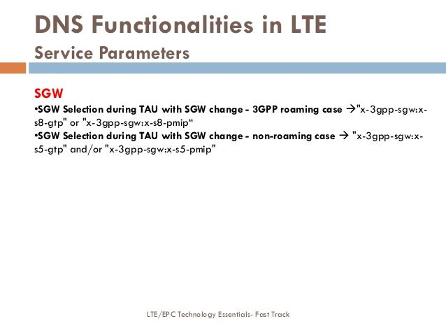 """DNS Functionalities in LTE Service Parameters SGW •SGW Selection during TAU with SGW change - 3GPP roaming case """"x-3gpp-s..."""