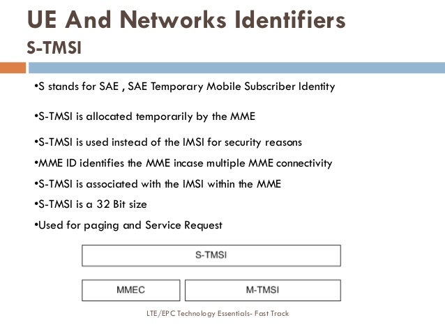 •S stands for SAE , SAE Temporary Mobile Subscriber Identity •S-TMSI is allocated temporarily by the MME •S-TMSI is used i...