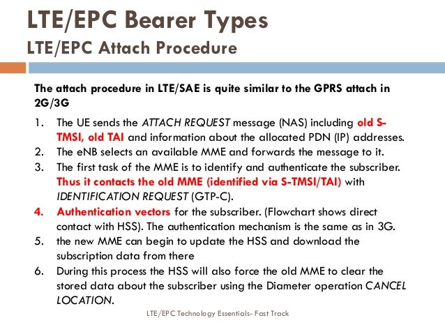 LTE/EPC Bearer Types LTE/EPC Attach Procedure The attach procedure in LTE/SAE is quite similar to the GPRS attach in 2G/3G...