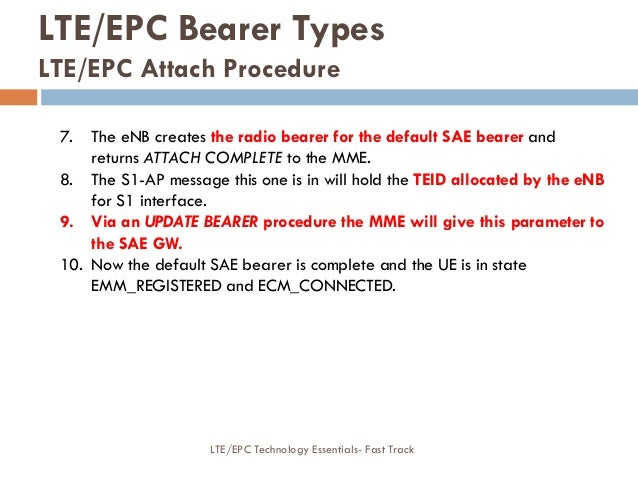 7. The eNB creates the radio bearer for the default SAE bearer and returns ATTACH COMPLETE to the MME. 8. The S1-AP messag...