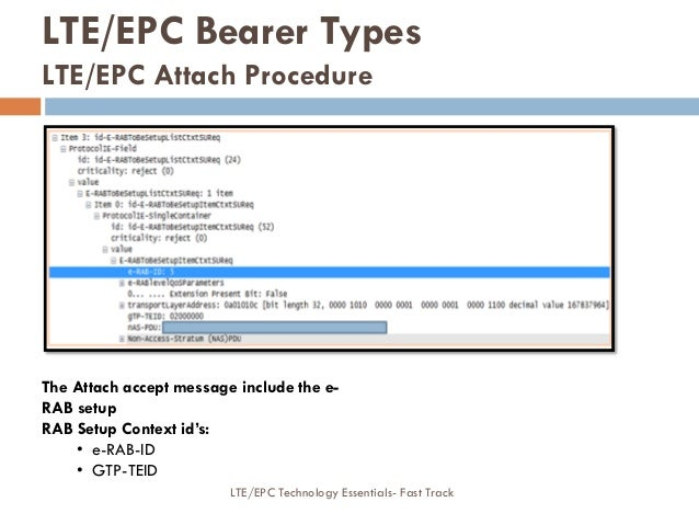The Attach accept message include the e- RAB setup RAB Setup Context id's: • e-RAB-ID • GTP-TEID LTE/EPC Bearer Types LTE/...