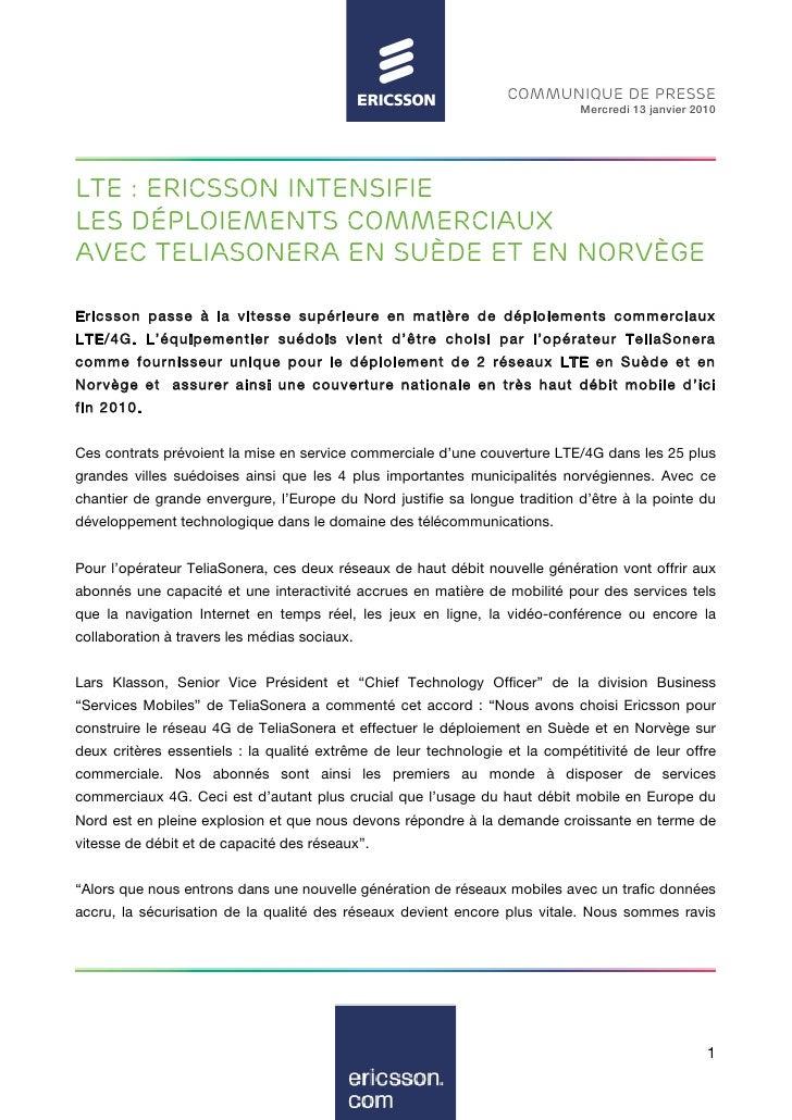 COMMUNIQUE DE PRESSE                                                                               Mercredi 13 janvier 201...