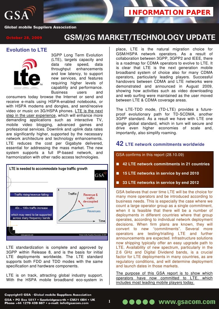 INFORMATION PAPER   October 28, 2009   Evolution to LTE                                            place, LTE is the natur...