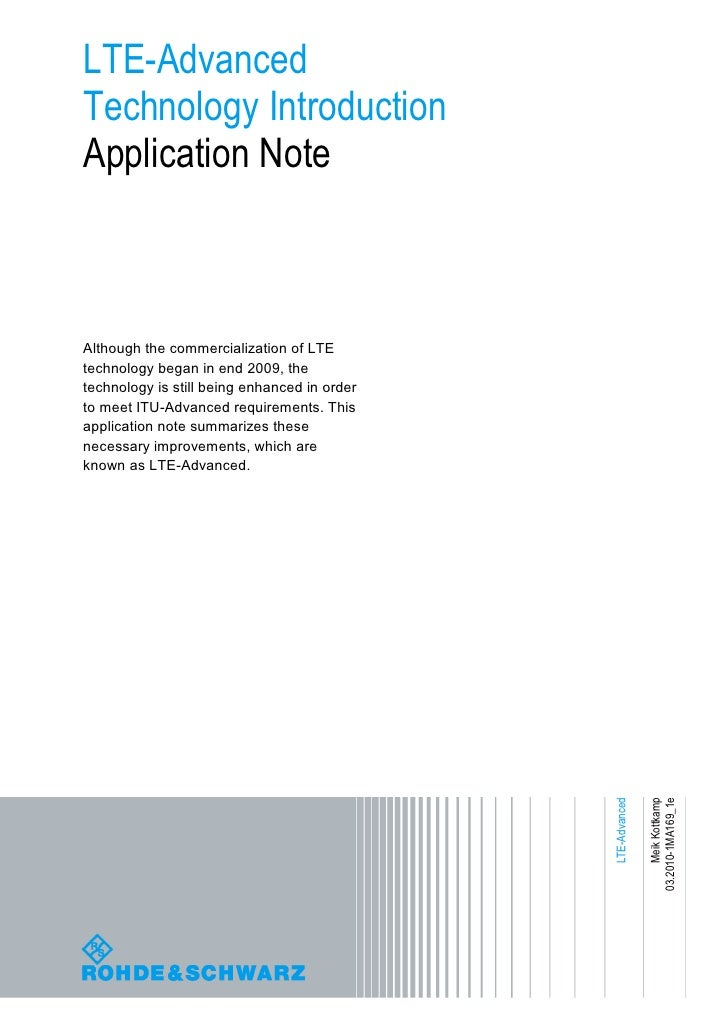 LTE-Advanced Technology Introduction Application Note    Although the commercialization of LTE technology began in end 200...