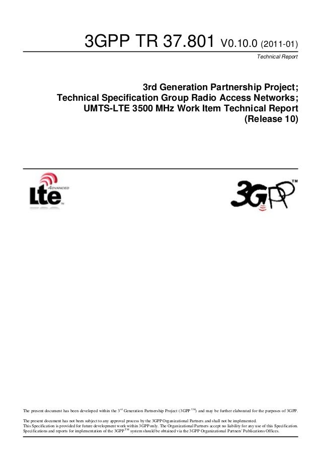 3GPP TR 37.801 V0.10.0 (2011-01) Technical Report 3rd Generation Partnership Project; Technical Specification Group Radio ...
