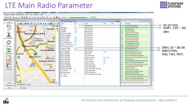 4G LTE Drive Test Introduction @ Floatway Learning Centre , slide number 4 LTE Main Radio Parameter PCI (0~503) RSRP (- 13...