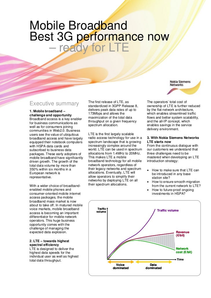 Mobile Broadband Best 3G performance nowMobile BroadbandBest 3G performance now   – ready for LTE                         ...