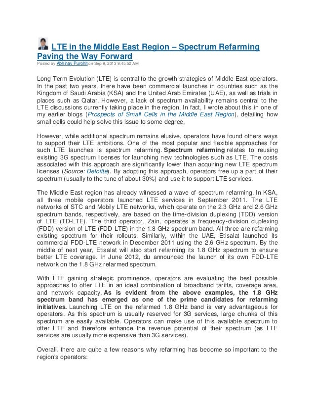 LTE in the Middle East Region – Spectrum Refarming Paving the Way Forward Posted by Abhinav Purohit on Sep 9, 2013 9:45:52...