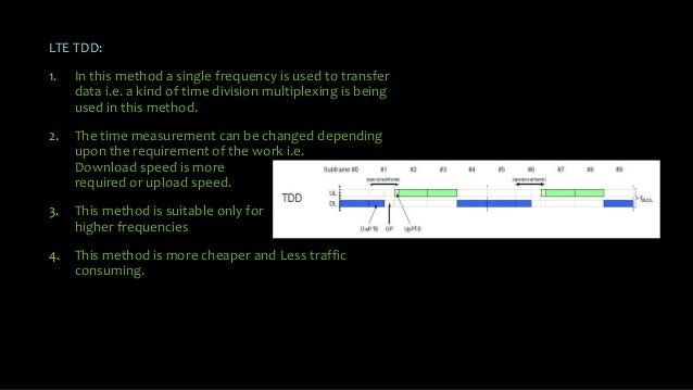 LTE TDD: 1. In this method a single frequency is used to transfer data i.e. a kind of time division multiplexing is being ...