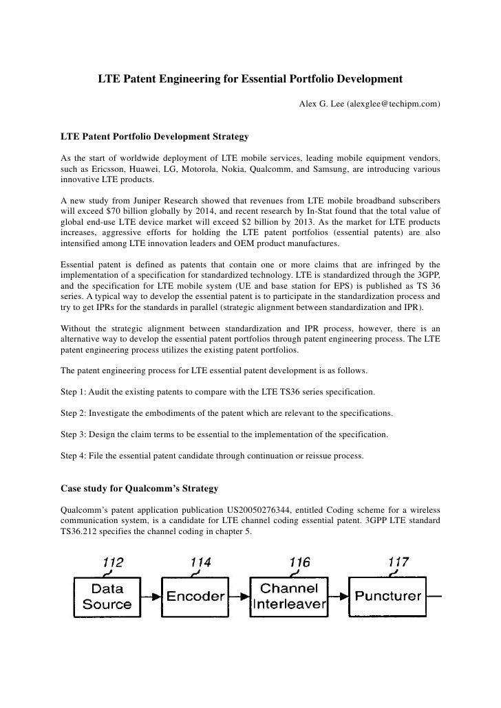 LTE Patent Engineering for Essential Portfolio Development                                                                ...