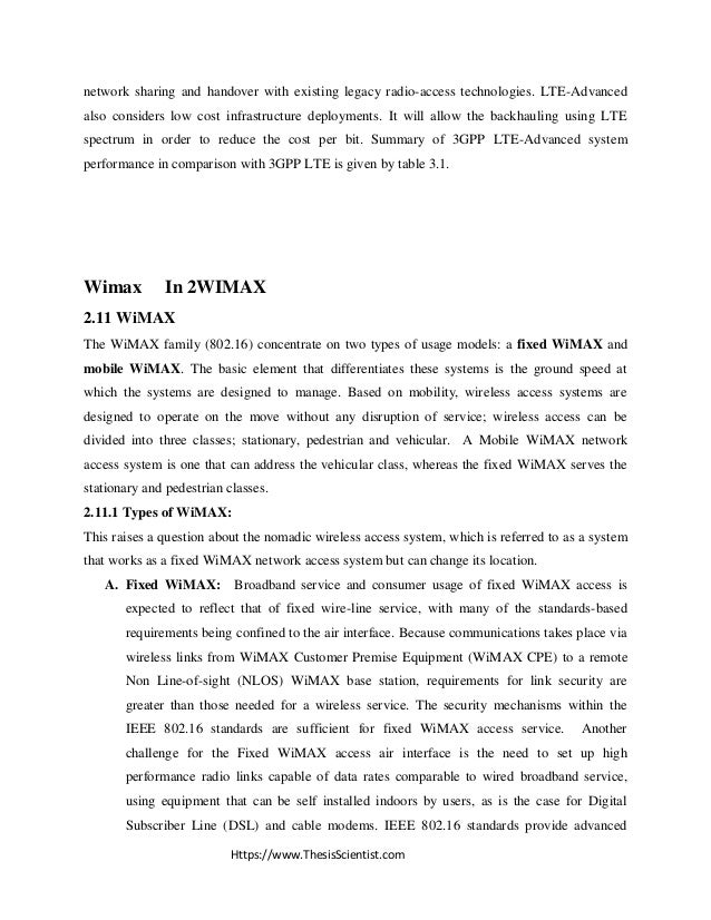 thesis report on wimax Wimax (80216e) base station m shakeel baig signal processing group department of signals and systems  thesis report my thanks to professor mats viberg, my thesis examiner, for his valuable ideas regarding beamforming, the channel model and comments on the thesis report.
