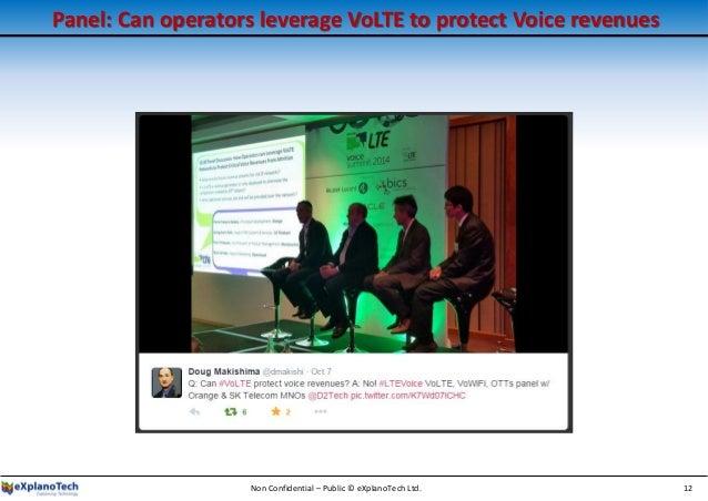 Panel: Can operators leverage VoLTE to protect Voice revenues Non Confidential – Public © eXplanoTech Ltd. 12
