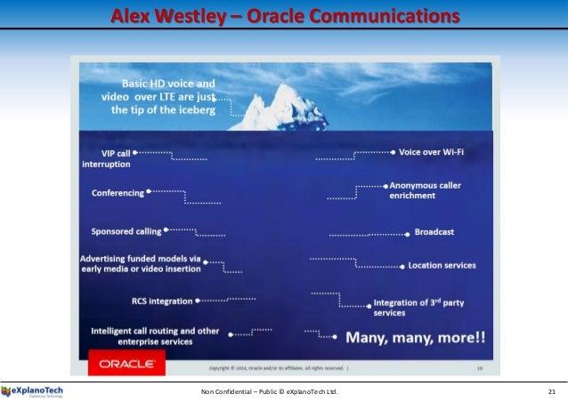 Alex Westley – Oracle Communications Non Confidential – Public © eXplanoTech Ltd. 21