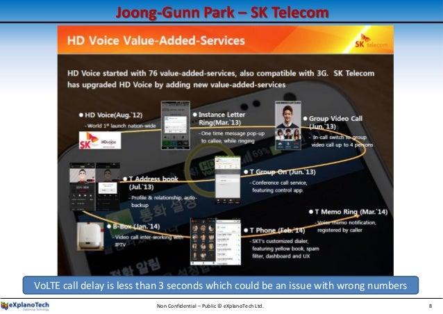 Joong-Gunn Park – SK Telecom Non Confidential – Public © eXplanoTech Ltd. 8 VoLTE call delay is less than 3 seconds which ...