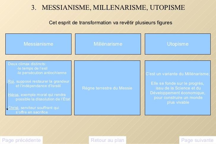 3.  MESSIANISME, MILLENARISME, UTOPISME <ul><li>Cet esprit de transformation va revêtir plusieurs figures </li></ul>Messia...