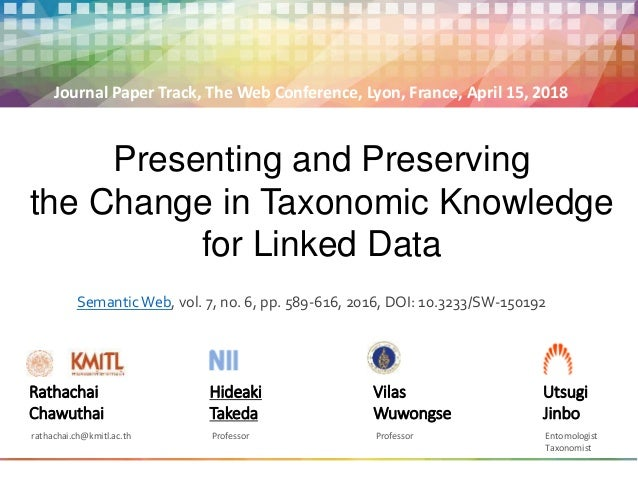 Presenting and Preserving the Change in Taxonomic Knowledge for Linked Data Rathachai Chawuthai rathachai.ch@kmitl.ac.th H...