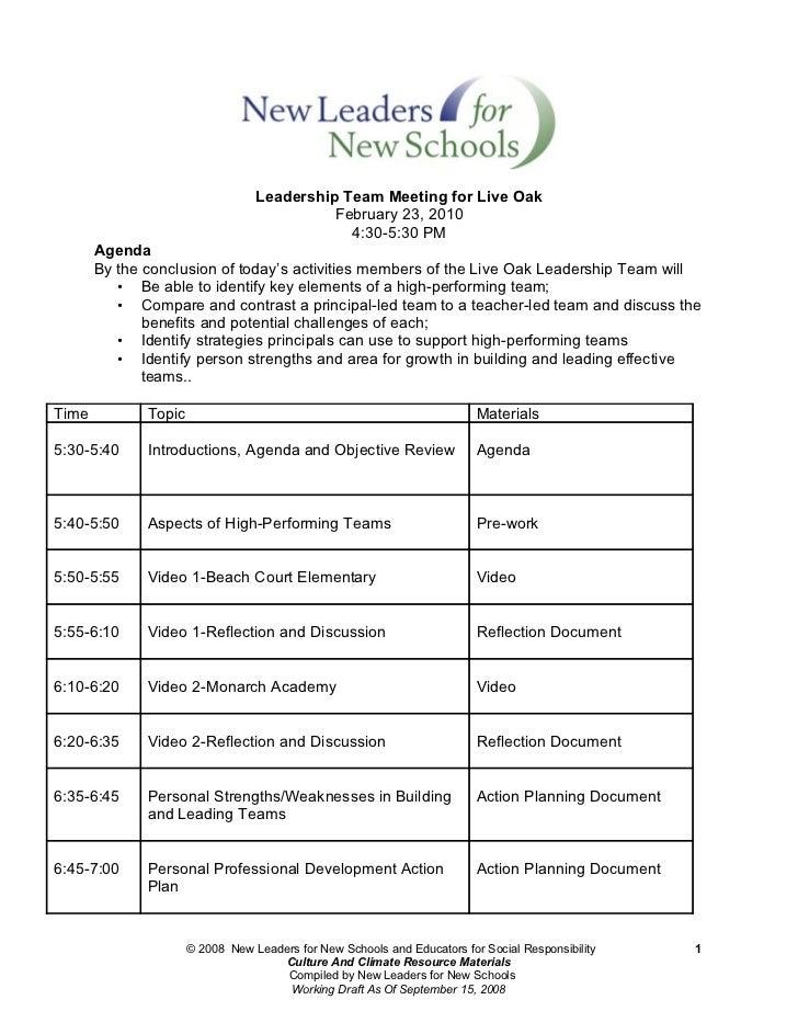 Leadership Team Meeting for Live Oak                                            February 23, 2010                         ...