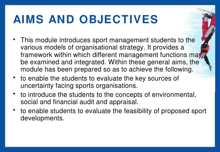 aims and objectives of sports