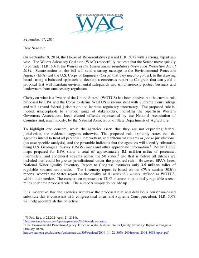 September 17, 2014  Dear Senator:  On September 9, 2014, the House of Representatives passed H.R. 5078 with a strong, bipa...