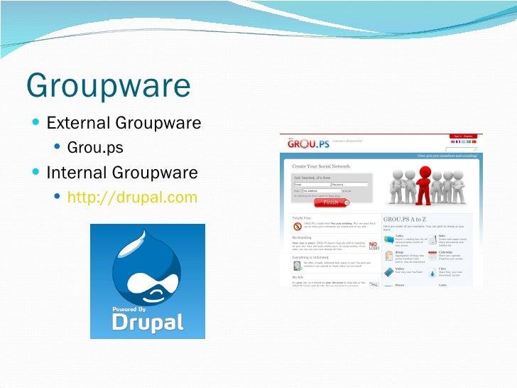 Groupware <ul><li>External Groupware </li></ul><ul><ul><li>Grou.ps </li></ul></ul><ul><li>Internal Groupware </li></ul><ul...