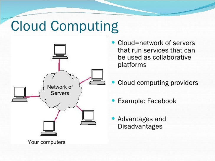 Cloud Computing <ul><li>Cloud=network of servers that run services that can be used as collaborative platforms </li></ul><...
