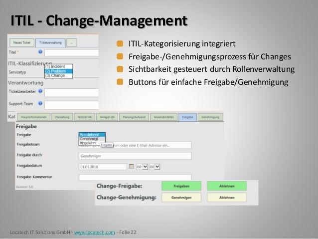 Locatech IT Solutions GmbH - www.locatech.com - Folie 22 ITIL - Change-Management ITIL-Kategorisierung integriert Freigabe...