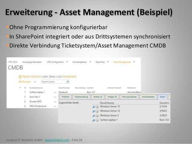 Locatech IT Solutions GmbH - www.locatech.com - Folie 26 Erweiterung - Asset Management (Beispiel) Ohne Programmierung ko...